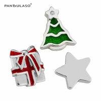 Pandulaso Christmas Green Tree Star Red Gift Box Petites Fit Floating Glass Locket Necklaces Pendants Fashion