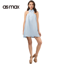 asmax 2017 Sweet Mini Dress Women Summer Backless Sleeveless Zipper Dress Turn-down Collar Pleated Female Elegant Vestidos