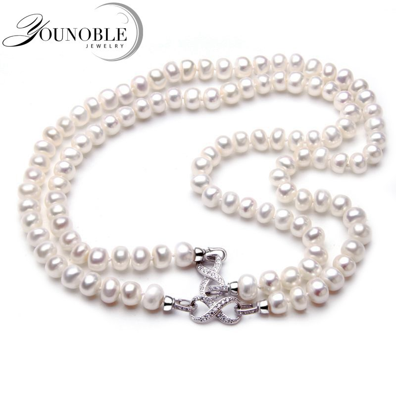 2017 Fashion Long Pearl Necklace Natural Freshwater Pearl Necklace Jewelry For Women Statement Necklace Gift Two Ways Use Trendy trendy layered rhinestone faux pearl necklace for women