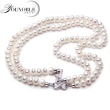 2017 Fashion Long Pearl Necklace Natural Freshwater Pearl Butterfly Pearl Jewelry For Women Statement Necklace Gift Two Ways Use 2017 new arrival natural pink freshwater pearl and baby pink shell flower statement necklace for women