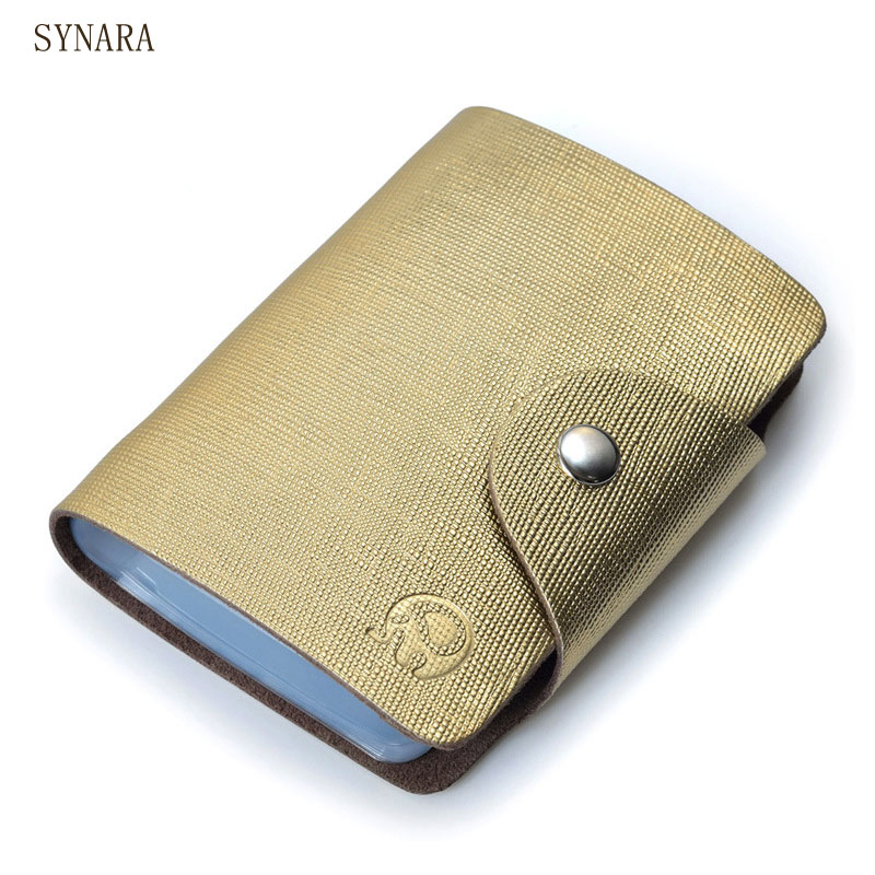26 Bits Business ID Credit Card Holder Gold colour Leather Men ...
