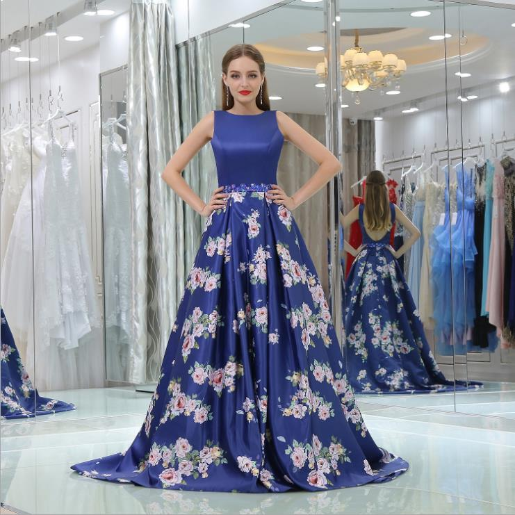 Elegant Floral Print   Bridesmaid     Dresses   for Wedding Guest   Dress   Royal Blue A Line Satin Open Back Prom Gowns vestido de noche