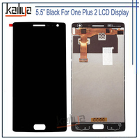 Black 5.5 inch For OnePlus 2 LCD Display With Touch Screen Digitizer Assembly For One Plus Two Glass Lens and LCD Replacements