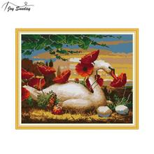 Joy Sunday Swans Among The Flowers Pattern Counted Cross-stitch-kit 11CT 14CT DIY Needlework,Sets for Embroidery Kit Canvas Aida