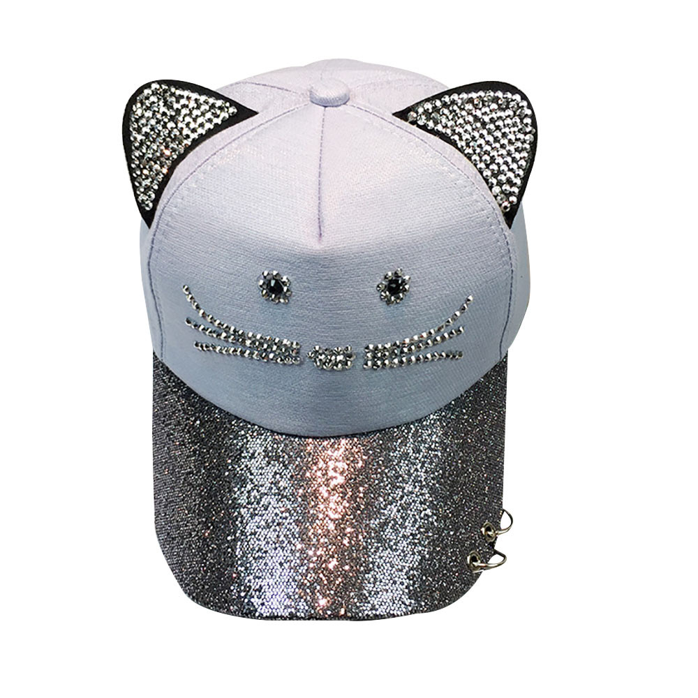 Sleeper #501 2019 Women's Cute Cat Ear Sequin Ring   Baseball     Cap   Hat Hip Hop Flat Hat 2019 fashion design gift hot Free Shipping