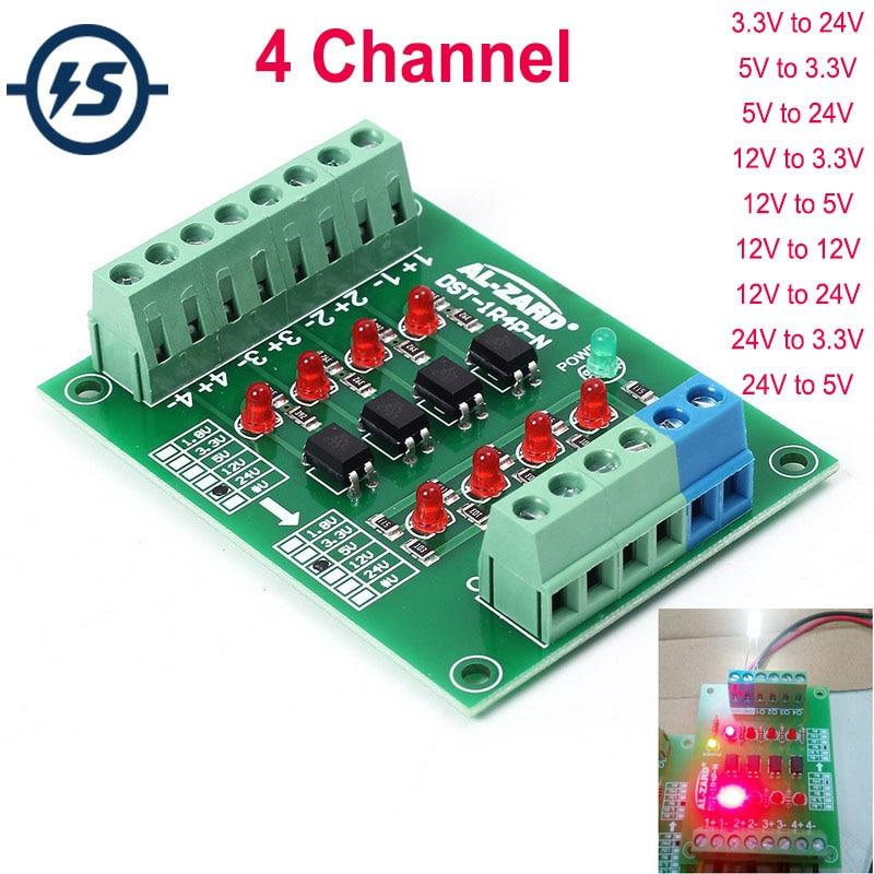Optocoupler Isolation Board Voltage Converter 24V To 5V/12V To 24V/5V To 24V 4 Channel Isolated Module PLC Signal Level Board