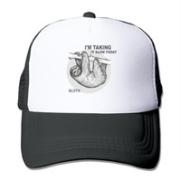 Unisex Hung Over Lazy Day Taking It Slow Sloth Mesh Trucker Hat Snapback Baseball Cap