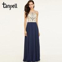 Tanpell Beaded Long Evening Dress Dark Royal Blue Sleeveless Floor Length A Line Dress Cheap Women