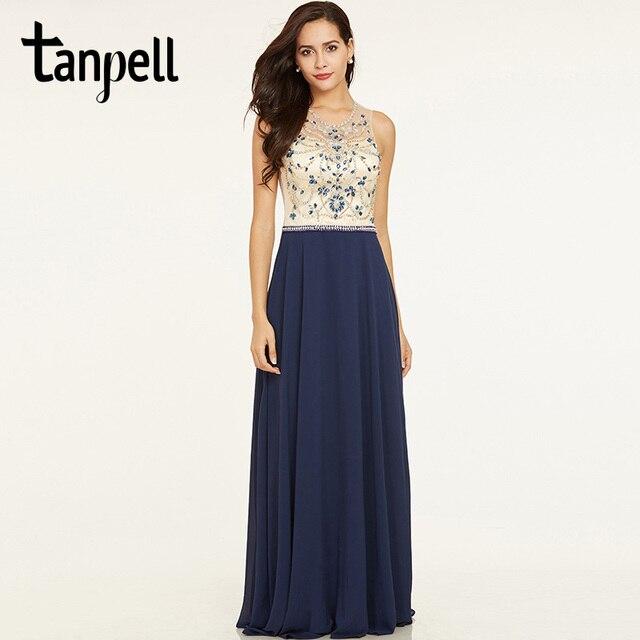 ce429f79c09749 Tanpell kralen lange avondjurk donker koningsblauw mouwloze vloer lengte  een lijn jurk goedkope vrouwen backless formele