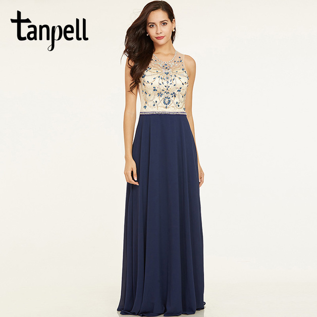 Tanpell wulstige lange abendkleid dunkle royal blue sleeveless ...