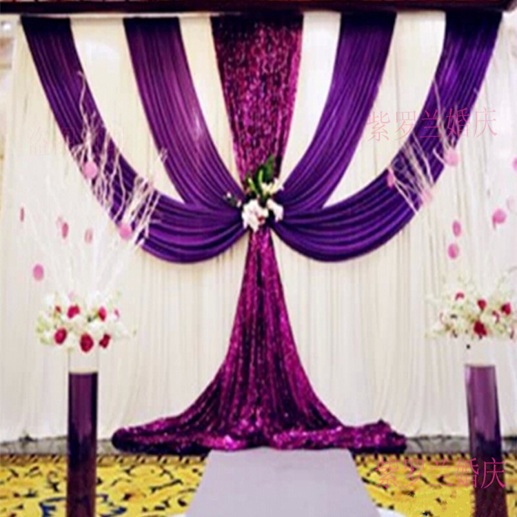 2016 purple and white wedding backdrop with swags wedding drapes ...