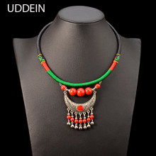 UDDEIN Bohemian Ethnic Necklace For Women Vintage Torques Bib Beads Jewelry Black Leather Chunky Chain Statement Maxi Necklace(China)