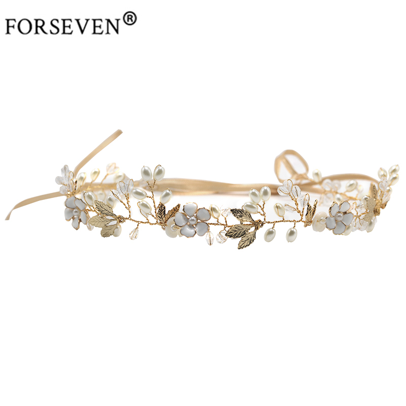 FORSEVEN High Quality Gold Crystal Pearl Headband For Bride Hair Accessories Flower Head Piece Handmade Wedding Hair Jewelry