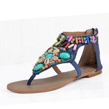 Bonitas sandalias de cuña bohemias suaves y cómodas, sandalias Vintage de verano con diamantes de imitación para mujer, Chanclas de playa para mujer S218