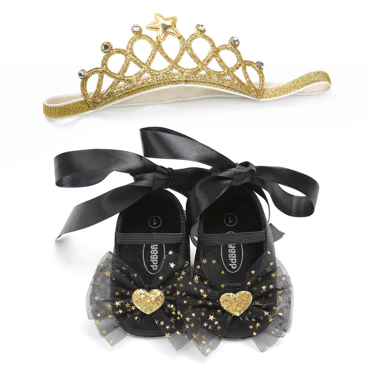 1 Set Newborn Baby Girl Princess Shoes+Headband Infant Toddler Sequin Bow Lace-up Bling Birthday Party Prewalkers Gift