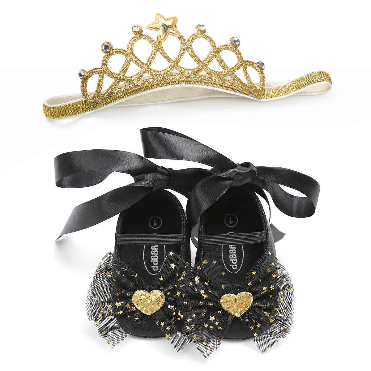 1 Set recién nacido bebé niña princesa zapatos + diadema Infantil Niño lentejuelas lazo encaje-up Bling cumpleaños fiesta Prewalkers regalo