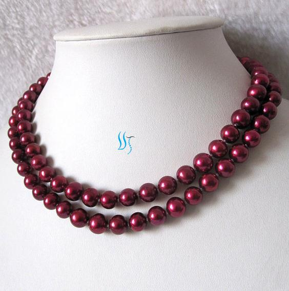 New Arriver Pearl Jewelry 34 inches 9-10mm Dark Red AA Freshwater Pearl Necklace New Free Shipping