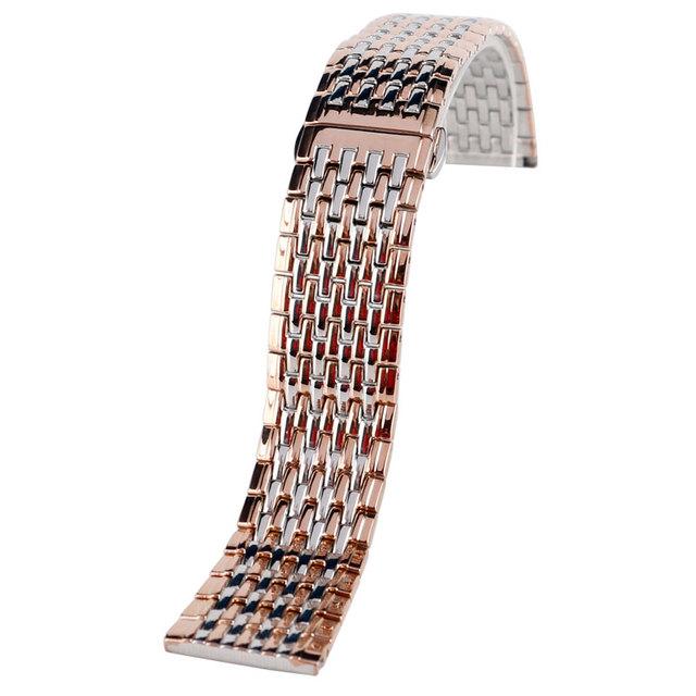 Hight Qualidade Rose Gold 20mm 22mm Moda Pulseira de Aço Inoxidável Pulseira Sólida Ligação Pulseira De Relógio de Substituição + 2 Barras de molas