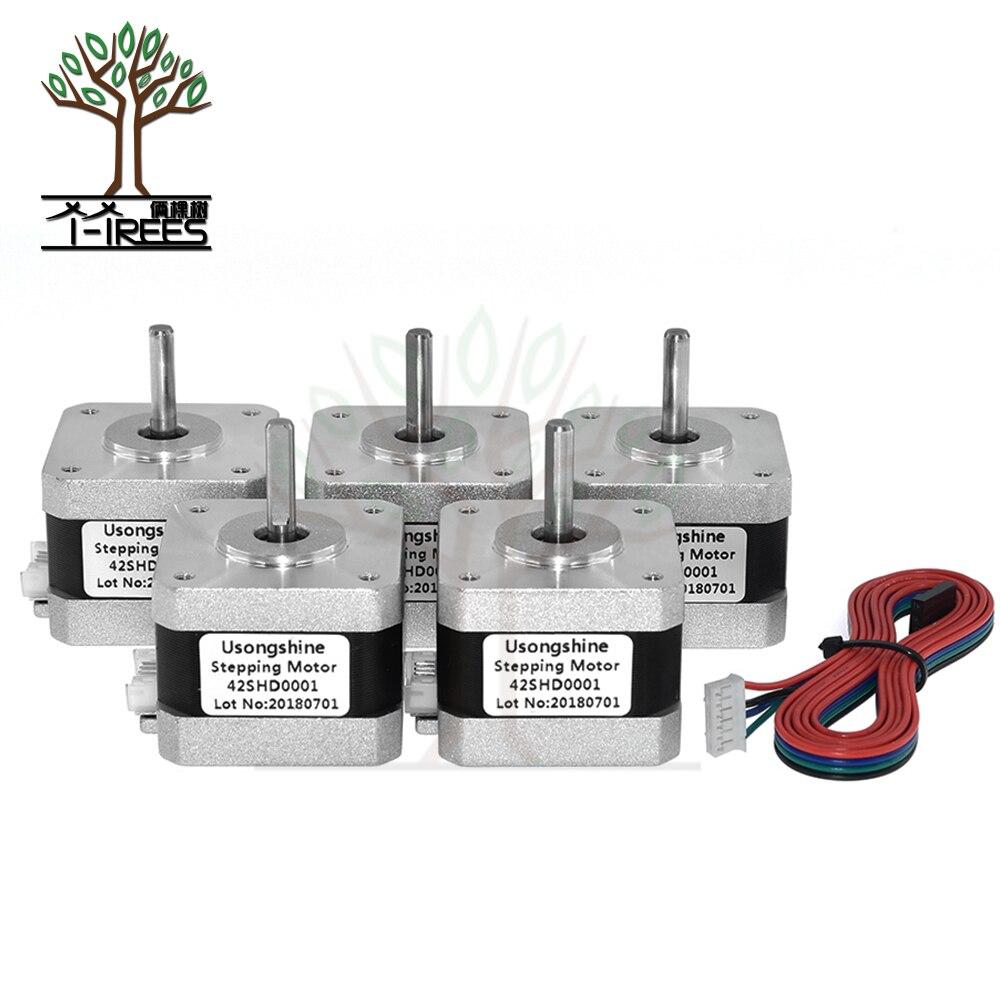 5pcs.Nema 17 Stepper Motor bipolar 4 leads 34mm 12V 1.5 A 26Ncm(36.8oz.in) 3D printer motor 42SHD0001 3D printer parts part pittman motor for liyu pm 3212 printer motor 9234c140 r5 printer parts