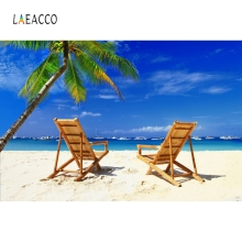 Laeacco Summer Beach Lounge Chair Tropical Palm Tree Blue Sky Photography Backgrounds Photographic Backdrops For Photo Studio