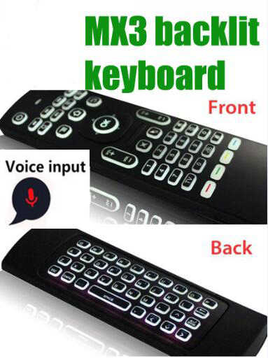 Mx3 Air Mouse Voice Wireless Keyboard Ondersteunt Engels/Russische Backlit Of Normale/Voice Met 3-Gyro 3-Gsenso voor Tv Box