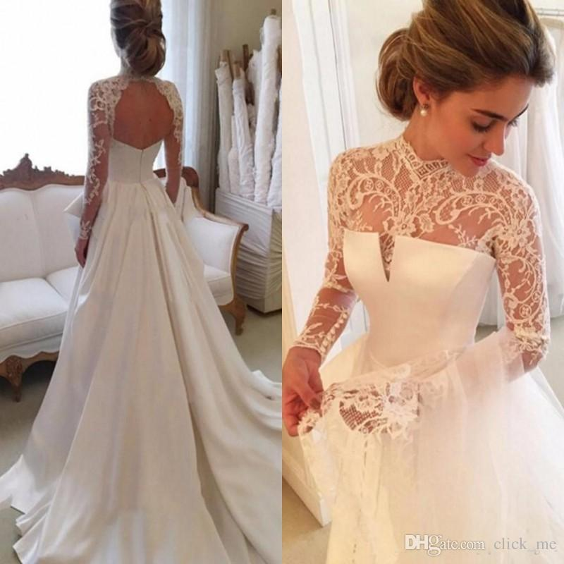 2017 Gorgeous Long Sleeve Lace Wedding Dresses Sheer Neck Sexy