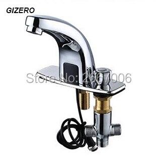 GIZERO Livraison Gratuite Chaude et Froide Automatique inflared Capteur Robinet pour salle de bains économie d'eau Inductive électrique robinet mélangeur ZR6151