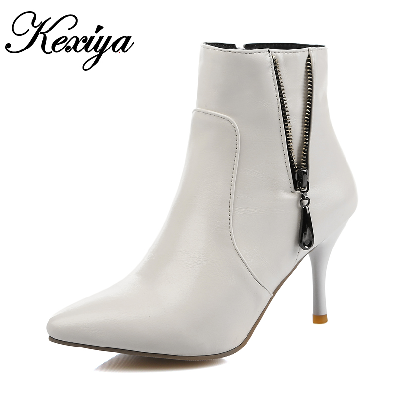 Big size 32-45 new winter women shoes sexy Pointed Toe thin high heels fashion Chains decoration zip Ankle boots zapatos mujer spring autumn women shoes ankle boots flock bling high thin heels fashion sexy pointed toe zip zipper big size embroidery flower