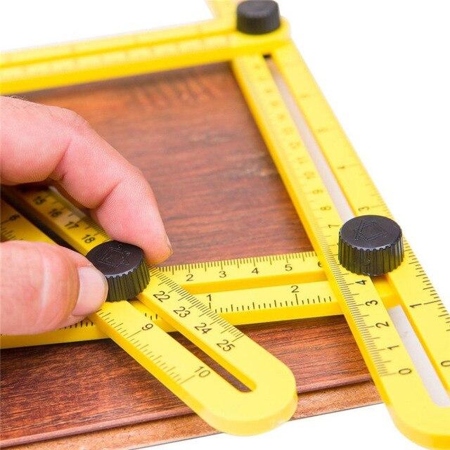Hot Sale! Width Measuring Instrument Angle-ruler Template Tool Four-sided Ruler Mechanism Slides
