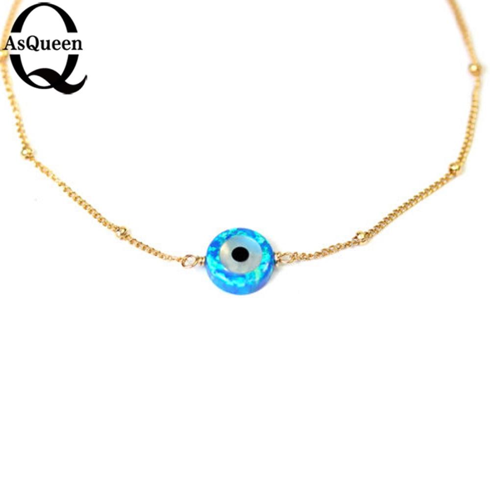 Långa guldfärgskedjor Blå opalhalsband för kvinnor Onda - Märkessmycken - Foto 3