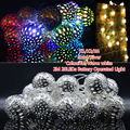 2x 2M 20LED Moroccan 3AA Battery powered Shining Golden/Sliver Metal Ball String Light Xmas Party Wedding Decoration lamp