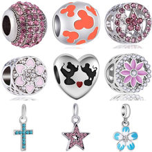 New Arrival Crystal Love Star Flower Cross Butterfly Mickey Beads Fit Original Pandora Charms for Women DIY Jewelry(China)