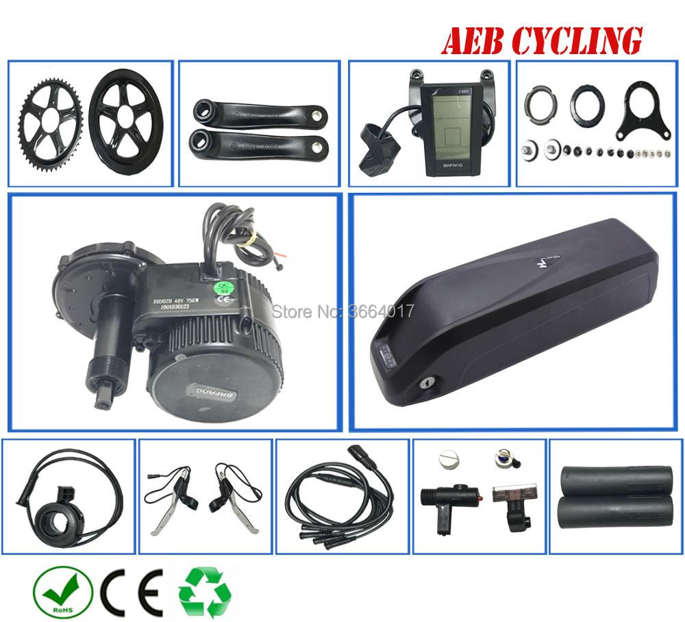 Bafang conversion bike kits 36V BBS01B 36V 350W mid motor with 36V 14.5Ah Lithium ion Hailong shark down tube battery pack