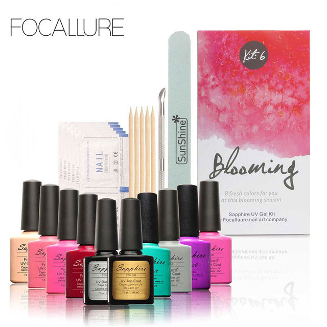 FOCALLURE New Pro Nail Gel Set Nail Art Kit Soak-off Nail Gel Polish Varnishes Top Base Coat Manicure Tools Kit with Remover
