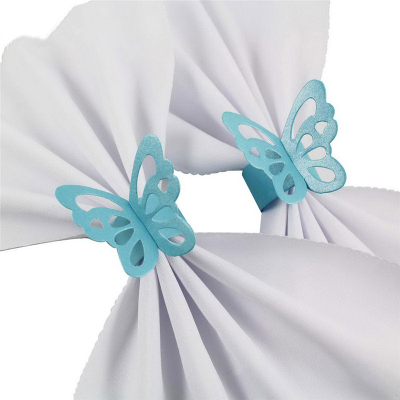 2.5x21cm 도매 50pcs 아름다운 종이 나비 냅킨 반지 Pearlescent 결혼식 파티 Serviette 테이블 장식 호의