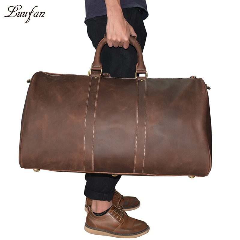 Extra large crazy horse genuine leather travel bag men big capacity Real leather shoulder weekend luggage bag handbag for man
