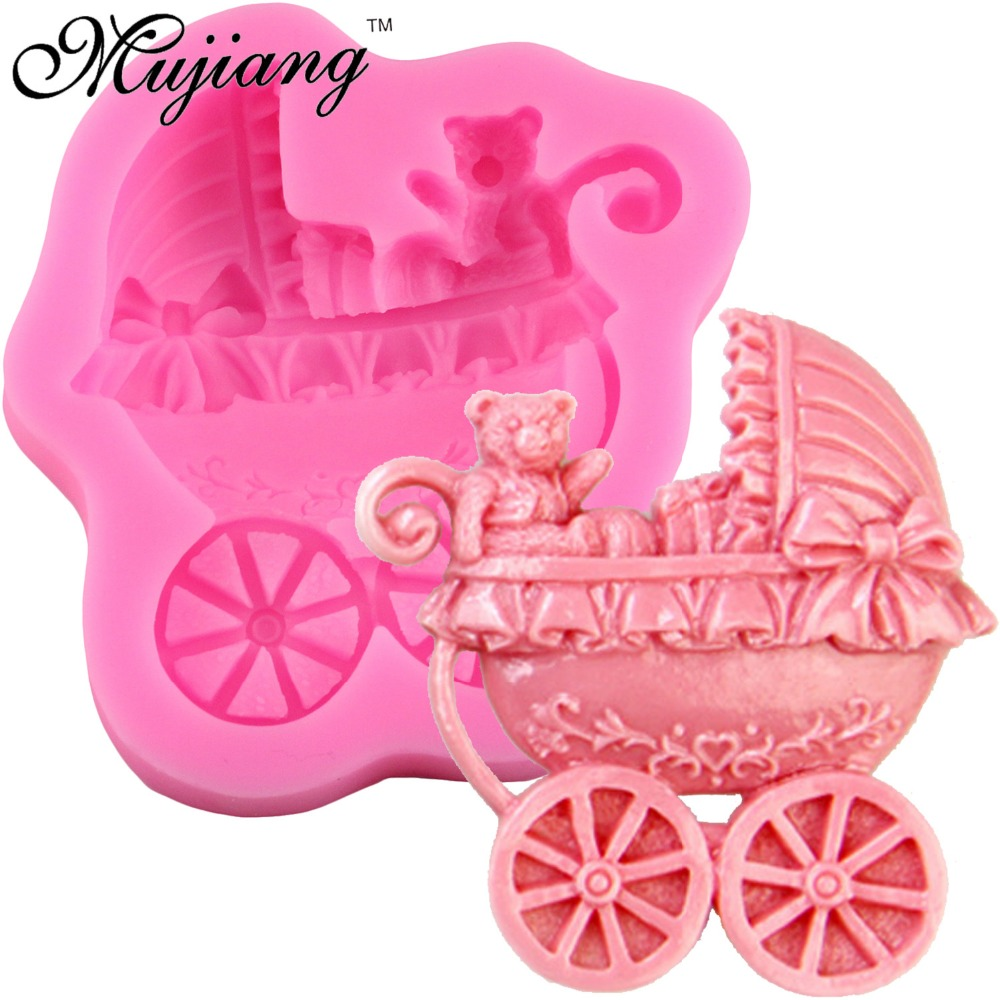 Mujiang Baby Bear Stroller Silicone Cake Mold Fondant Cake Decorating - Խոհանոց, ճաշարան եւ բար