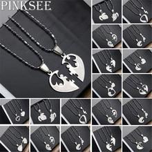 PINKSEE, 1 пара, титановая сталь, в форме сердца, ожерелья с подвесками, для мужчин, женщин, влюбленных, я люблю тебя, ожерелье, ювелирные изделия, подарки, 19 видов стилей