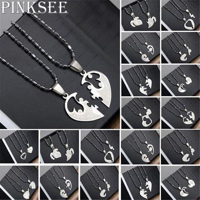 1 Pair Titanium Steel Heart Shape Pendant Necklace