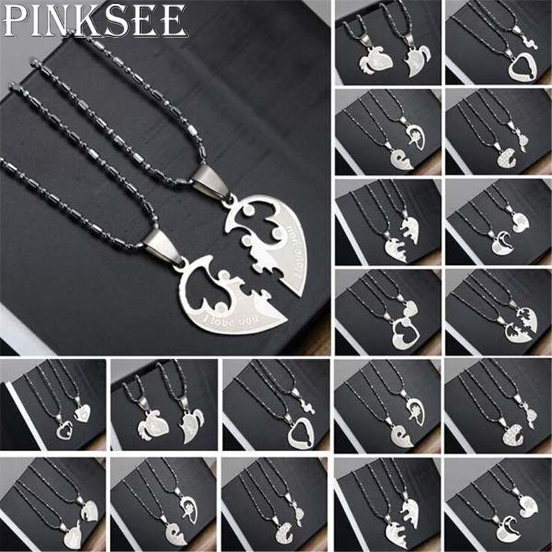 PINKSEE 1 Pair Titanium Steel Heart Shape Pendant Necklaces Men Women Couple Lover I Love You Necklace Jewelry Gifts 19 Styles