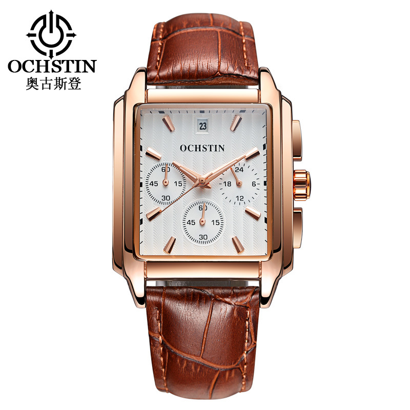 mens square genuine leather wristwatches quartz casual watches man Multifunction Chronograph calendar waterproof OCHSTIN brand