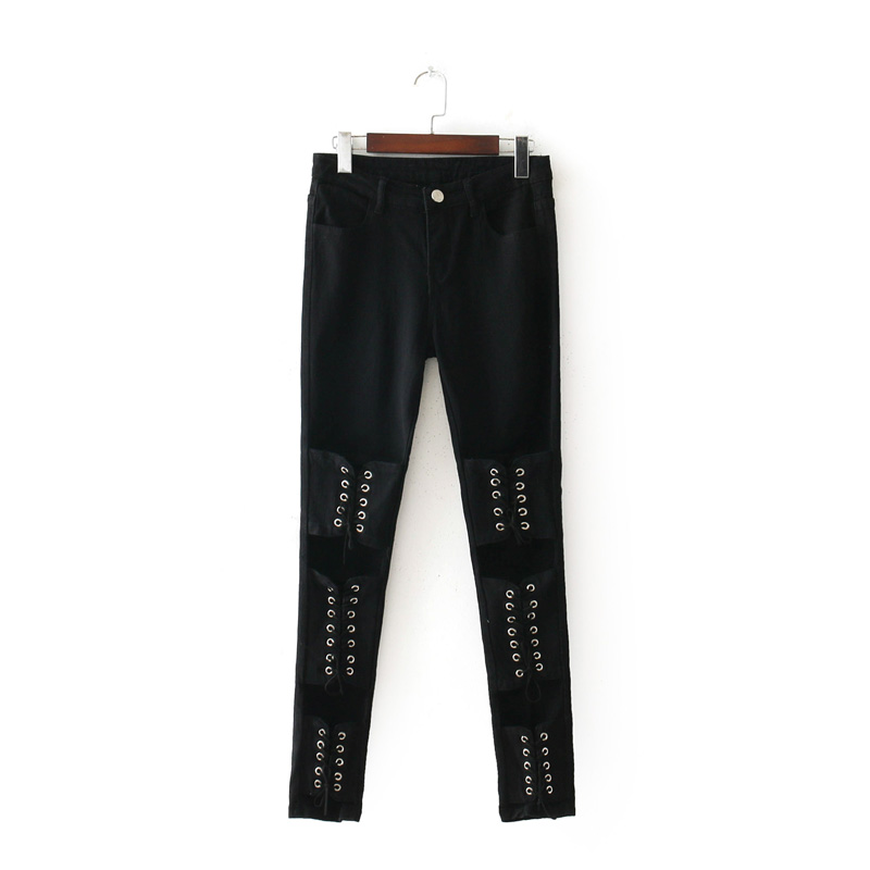 2018 fashion Women black jeans Lace up Skinny Pencil pants High street white Low waist Denim elastic female cloth S-XXL 17DecW3