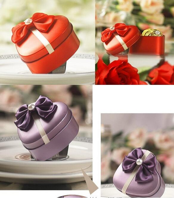 Klasické svatební čokoládové bonbony box ve tvaru srdce kovové dárkové krabičky šperky cín boxy svatební laskavosti držitele s krásným bowknot