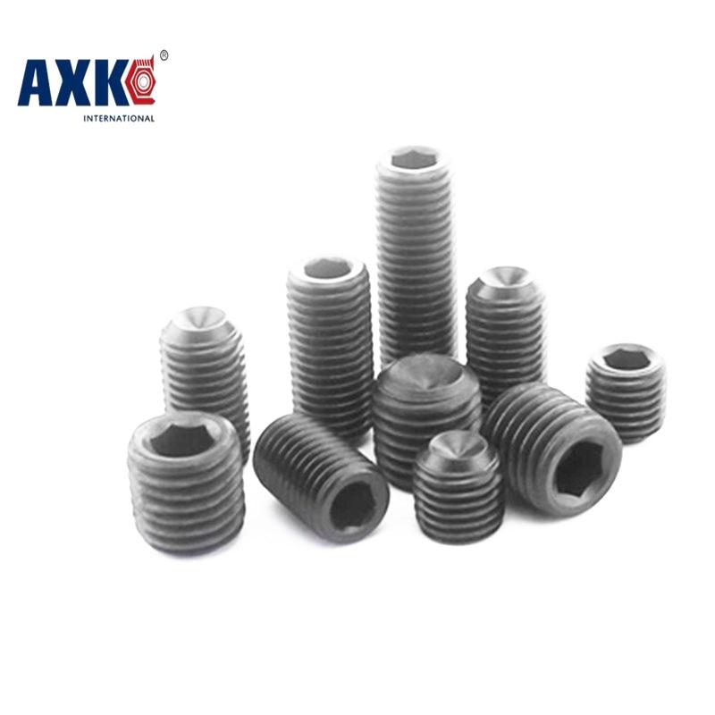 AXK 50Pcs M5 DIN916 Black Carbon Steel Metric Thread Grub Screws Inner Hexagon Socket Set Screw M5x(3/4/5/6/8/10/12~30) mm 20pcs m3 m12 screw thread metric plugs taps tap wrench die wrench set
