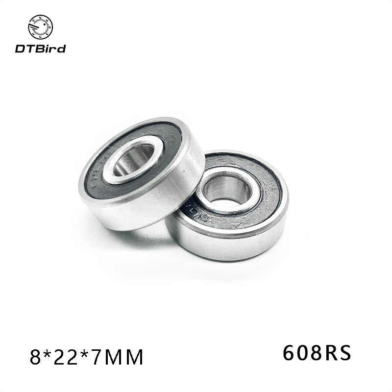 Premium Chrome Steel 10 pcs 608ZZ Ball Bearings 8mm x 22mm x 7mm blue sides