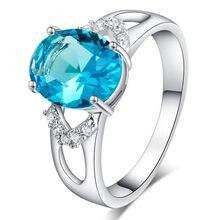 Ashion desgin anel grande quadrado céu azul anéis de pedra para mulher menina jóias casamento noivado presente moda luxo incrustada pedra ri