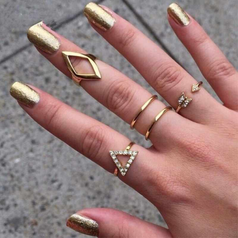 5 pcs/set  crystal knuckle stacking gold geometry triangle arrow finger ring  rings for women  8CRD142
