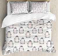 Duvet Cover Set, Doodle Style Cartoon Animals from Antarctica with Crowns on a Dotted Background, 4 Piece Bedding Set