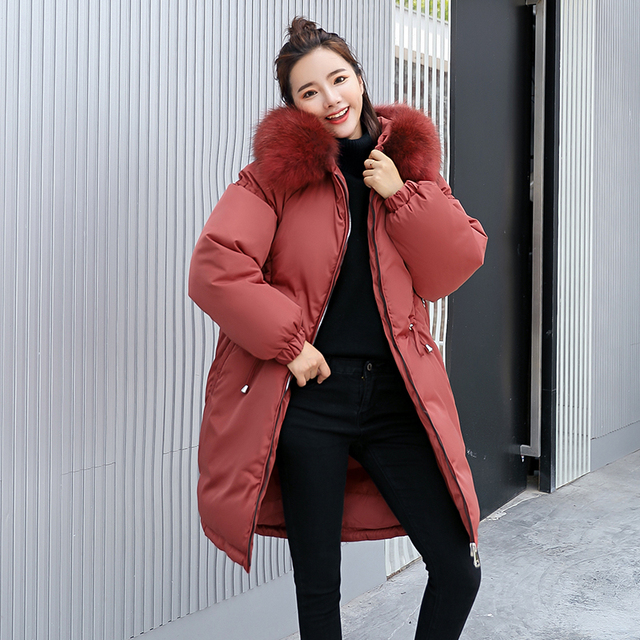3a7db6a99ba 2018 Fashion Big Fur Collar Winter Coat Women Thick Warm Cotton Padding  Parka Ladies Plus Size 3XL Winter Jacket Women Long Coat