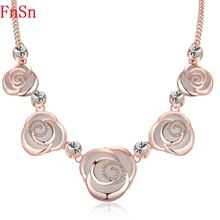 FnSn New Hot Chokers Crystal Flower Statement Necklace Jewelry Women Gold Rhinestones Collar Turkish Plant jewelry Parure N150